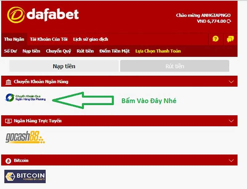 Deposit Instructions at Dafabet