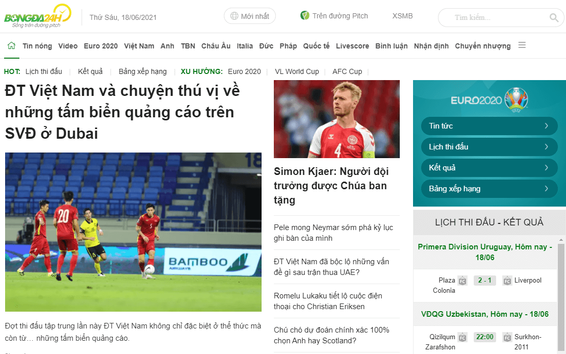 Trang web bongda24h.vn
